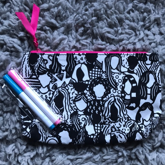 ipsy Handbags - ipsy bag, black and white with pens to color